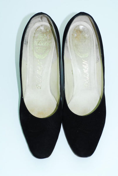Delman Black Suede Pumps