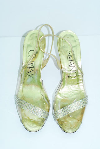 A'mano  Gold and Rhinestone Evening Shoe