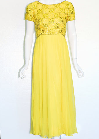 Yellow Chiffon and Sequin Gown