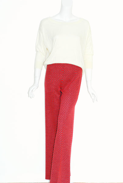 Red and Grey Checkboard Bell Bottoms