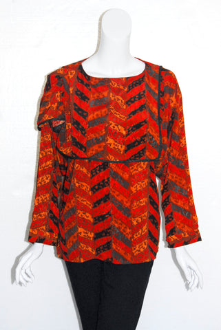 Jean for Joseph Le Bon Red Herringbone Print Blouse