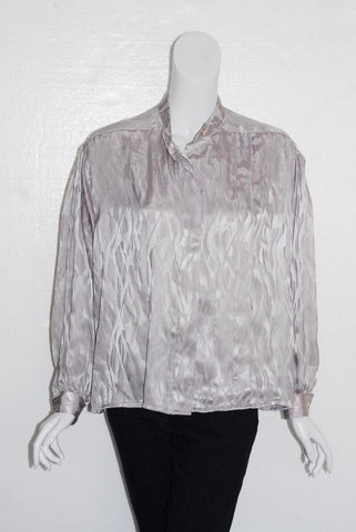 Jerry Jones Silver Silk Pleat Front Blouse