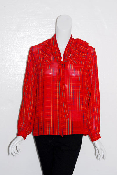 Bolts Plaid Ruffle Neck Blouse
