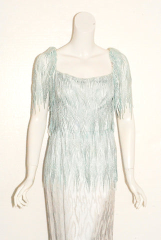 Fannye's Blue Ombre Burnout Evening Gown