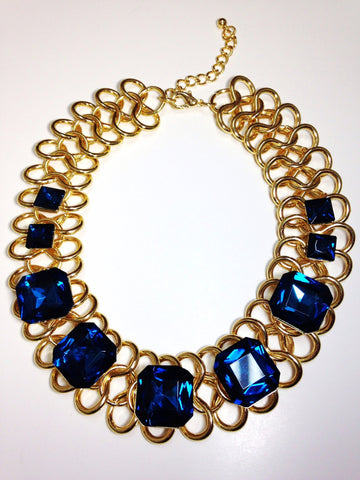 80s Inspired Faux Blue Sapphire Collar Necklace