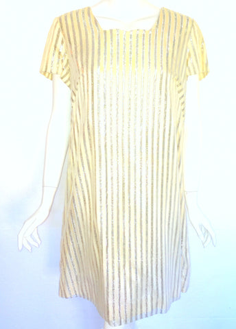 Ivory and Silver Lame Party Dress