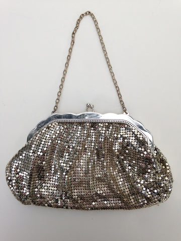 Whiting & Davis Silver Metallic Mesh Purse