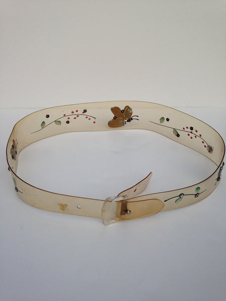Clear Acrylic Handpainted Butterfly Belt