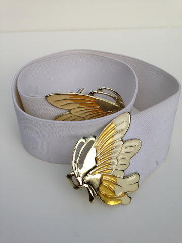 Ivory Butterfly Enamel Stretch Belt
