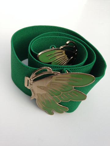 Emerald Green Butterfly Enamel Stretch Belt