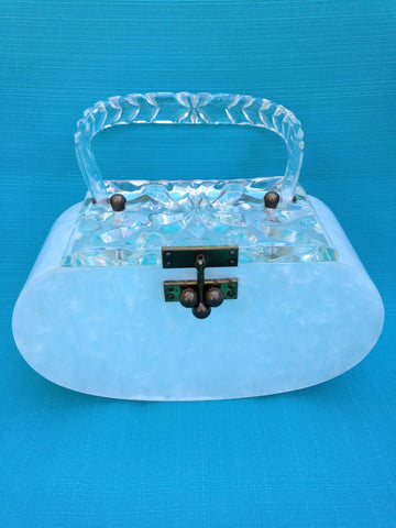 Charles Kahn Clear and Pearl Lucite Box Purse