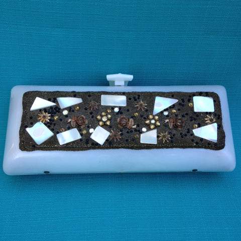 Pearl Lucite Clutch with Seed Beads and Mother of Pearl
