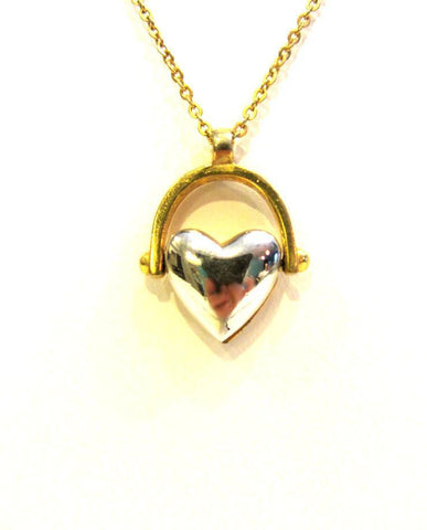 Crown Trifari Heart Pendant Necklace