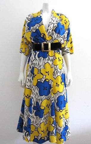 Nu Phase Pop Art Yellow and Blue Floral Dress