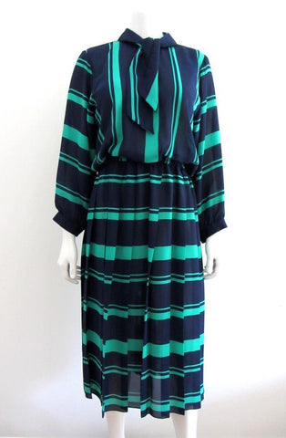 Charles Alan Navy and Green Stripe Tie Neck Dress