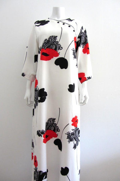 Tori Richard Asian Floral Maxi Dress