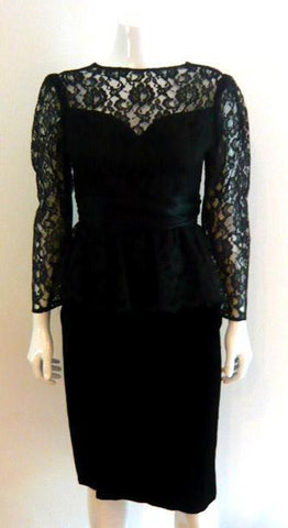 Gunne Sax Black Lace Peplum Dress