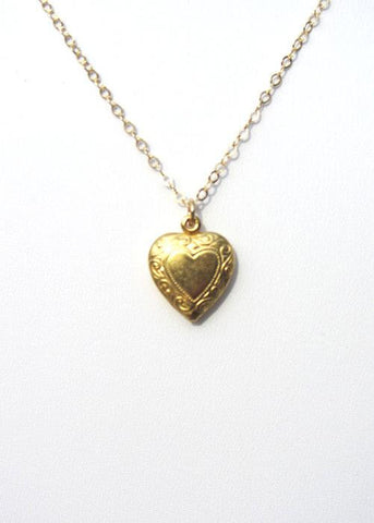 Heart Charm Necklace Gold