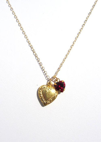 Heart Charm Necklace with Rhinestone