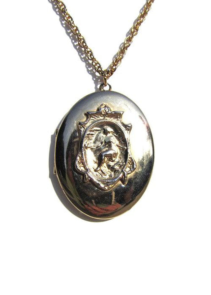 Oval Goddess Locket Pendant Necklace