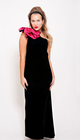 Victor Costa Black Velvet Gown with Bow Shoulder