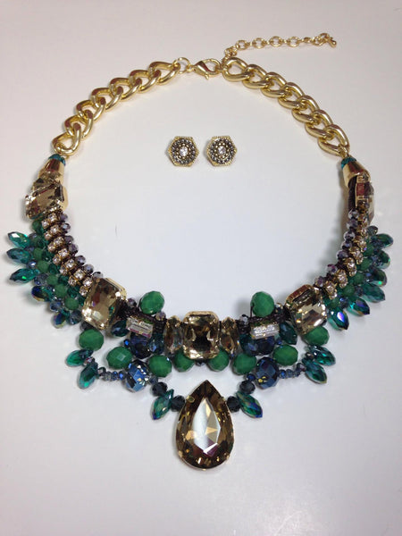 Green Crystal and Rhinestone Vintage Inspired Necklace Set