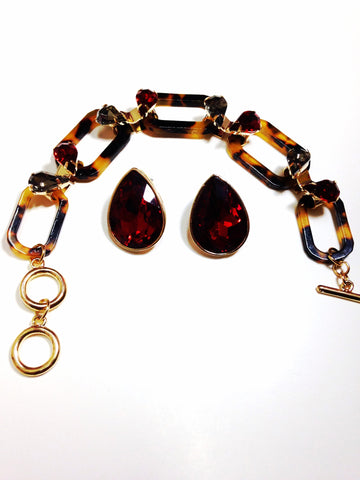 Vintage Inspired Tortoise Link Bracelet Set with Red Rhinestone Teardrop Earrings