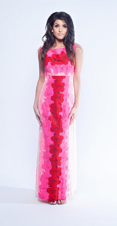 Ui-Maikai Neon Pink Hawaiian Maxi Dress