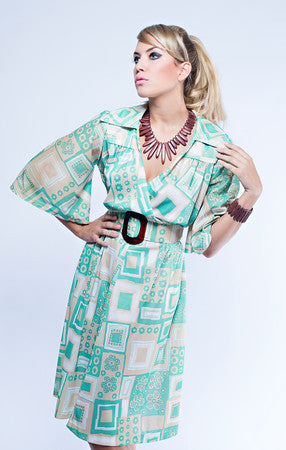 Green and Beige 70s Flutter Sleeve Dress  with Belt