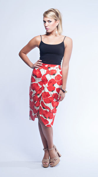 Raul Blanco Poppy Print Skirt Set