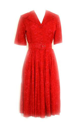 Red Carnation Print Mad Men Dress