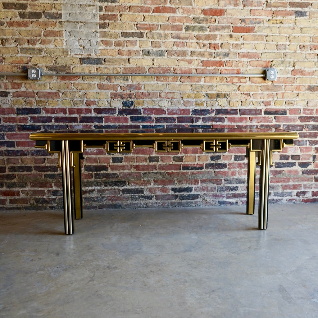 Mastercraft Black Lacquer and Brass Console
