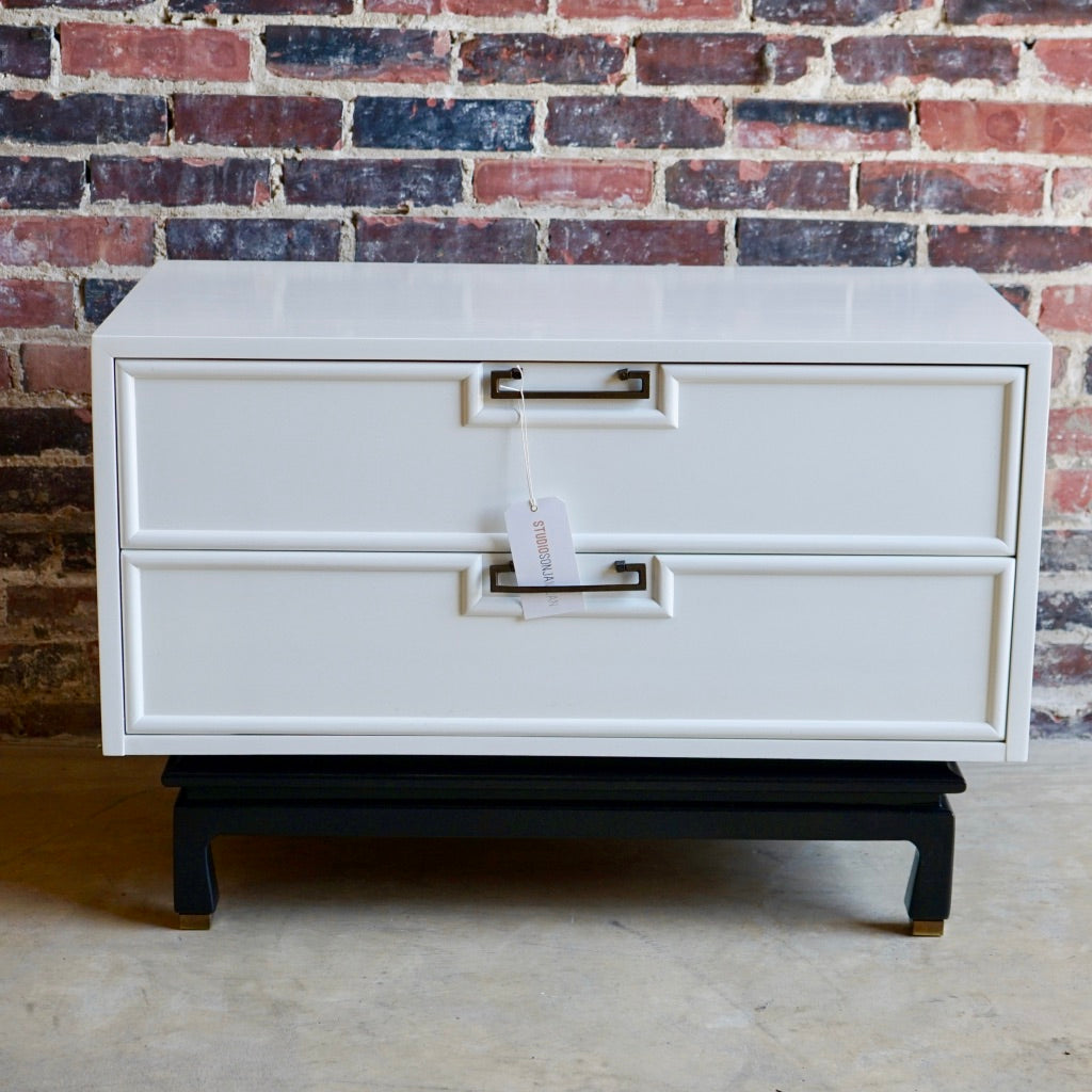 American of Martinsville Large White Lacquer Nightstand