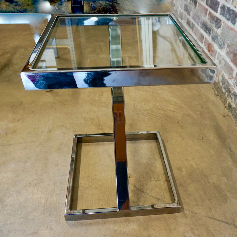 "Pace Collection ""Z"" Base Chrome and Glass Side Table"
