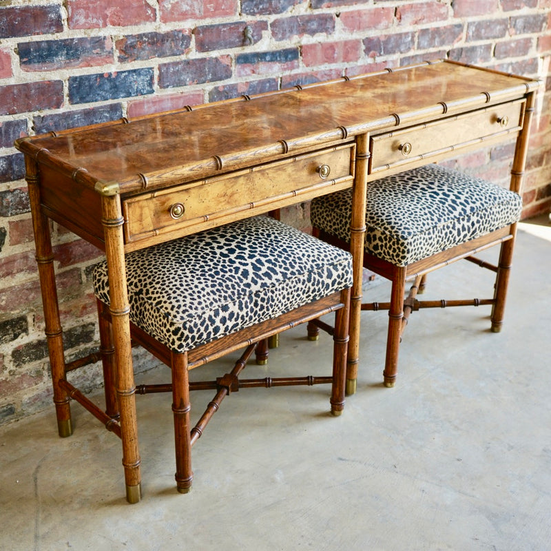 Bamboo Console with leopard ottomans