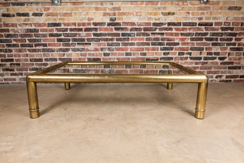 Substantial Mid Century Brass and Glass Coffee Table by Mastercraft
