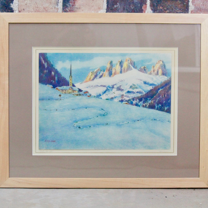 Watercolor by Ugo Flumiani Dolomite Mountains