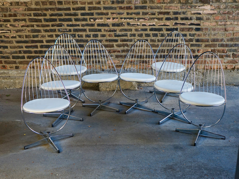 Chrome mid-century swivel chairs swedish Chicago