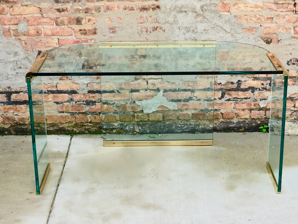 Pace Collection Glass Brass Desk Chicago