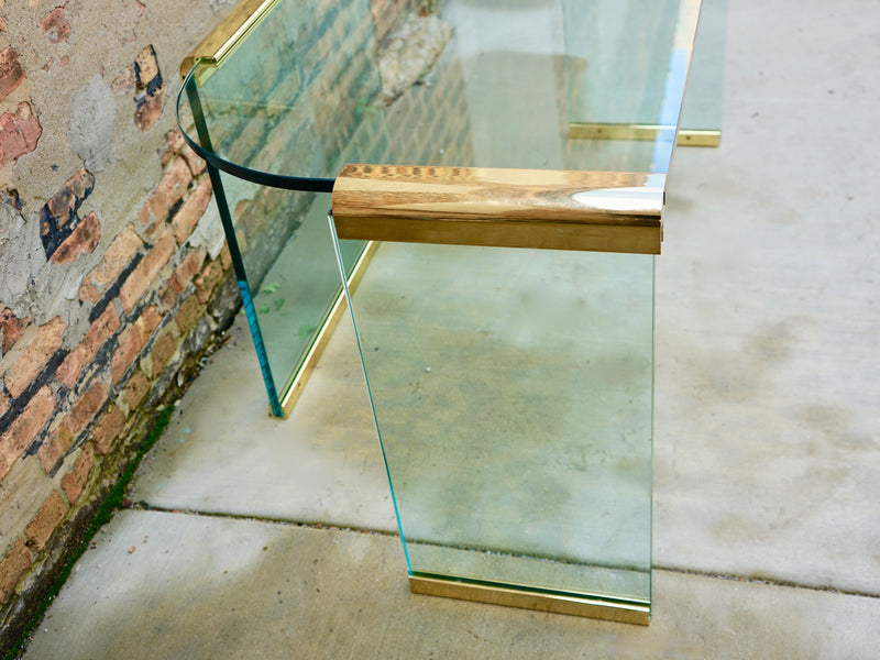Mid Century Glass Brass Desk Chicago