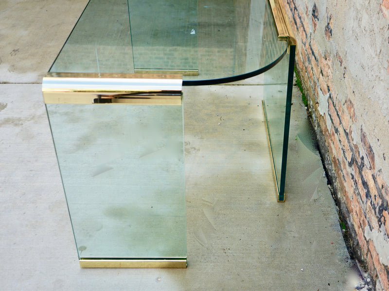 Mid century Glass and Brass Desk Chicago