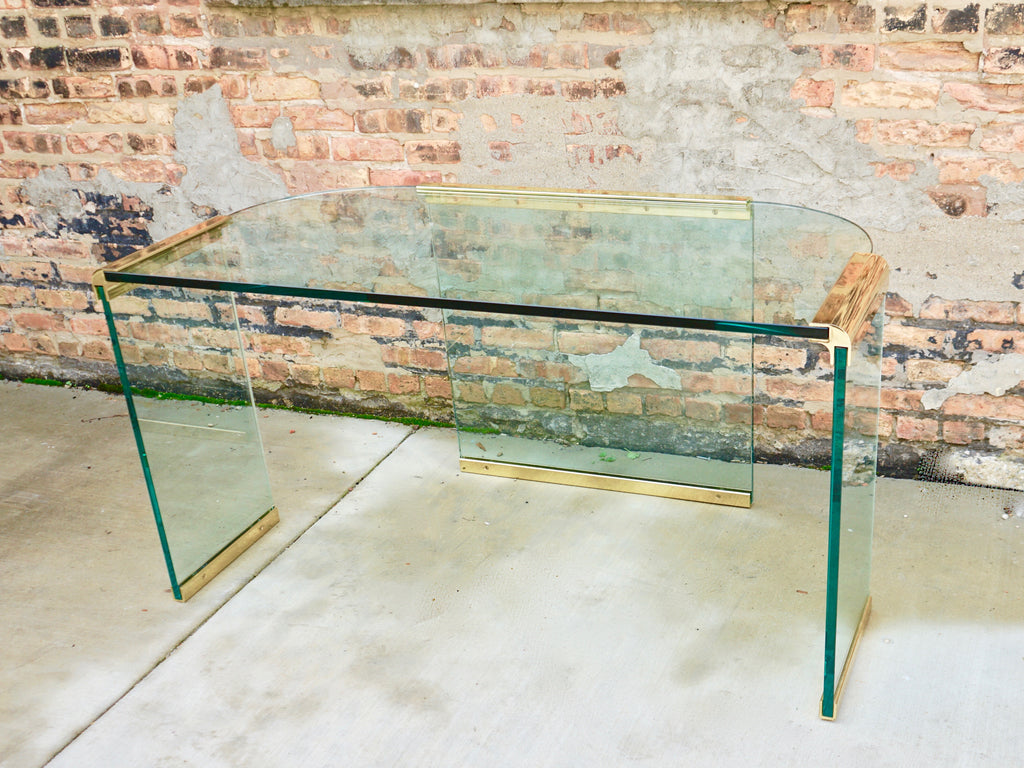 Mid Century Pace Collection Glass Brass Desk Chicago