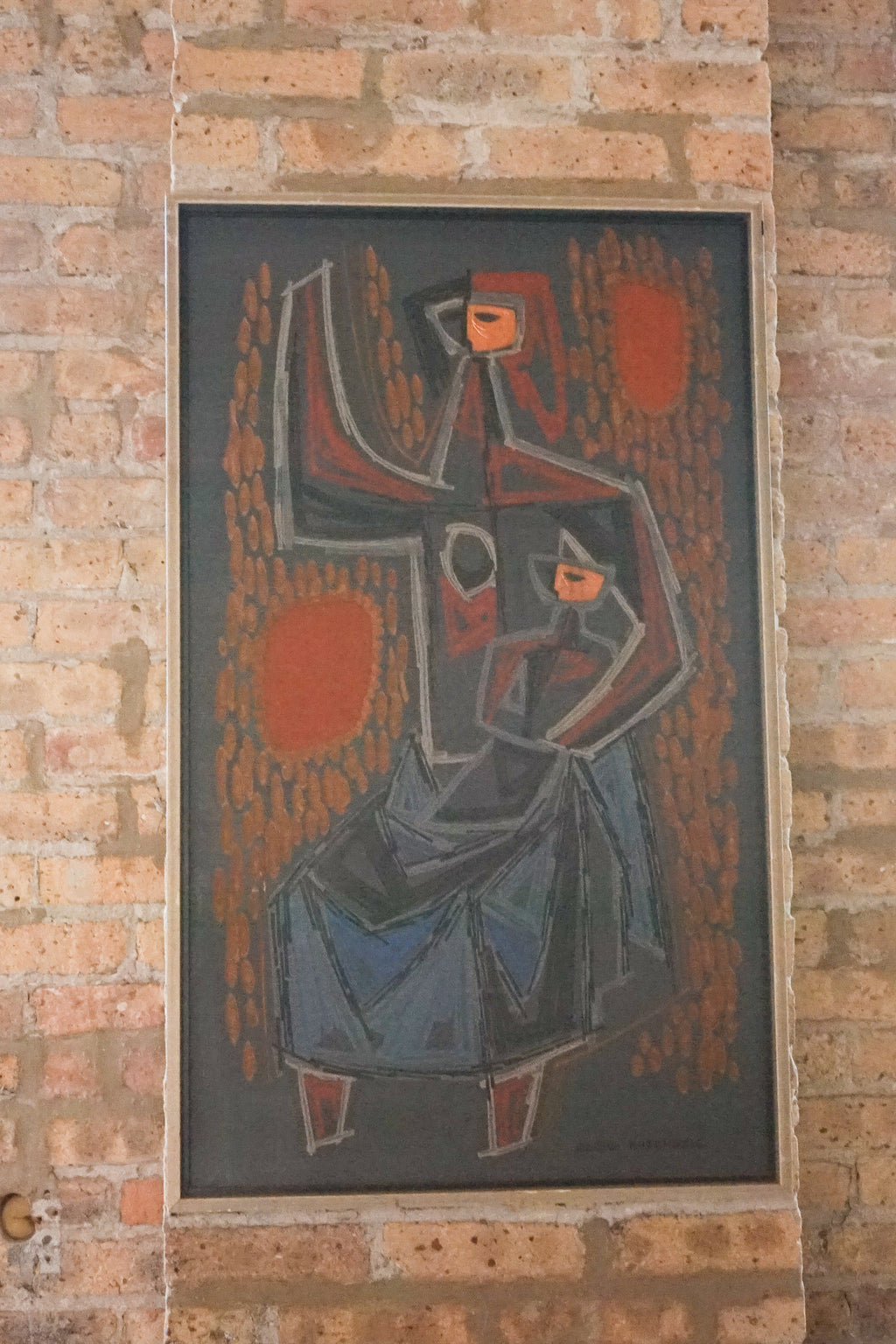"Painting by Zeljko Kujundzic titled ""Mother and Child"", Mid-century original painting, Serbian painter"