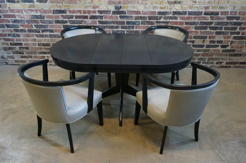 Round Black Lacquer Dining Table with Leaves
