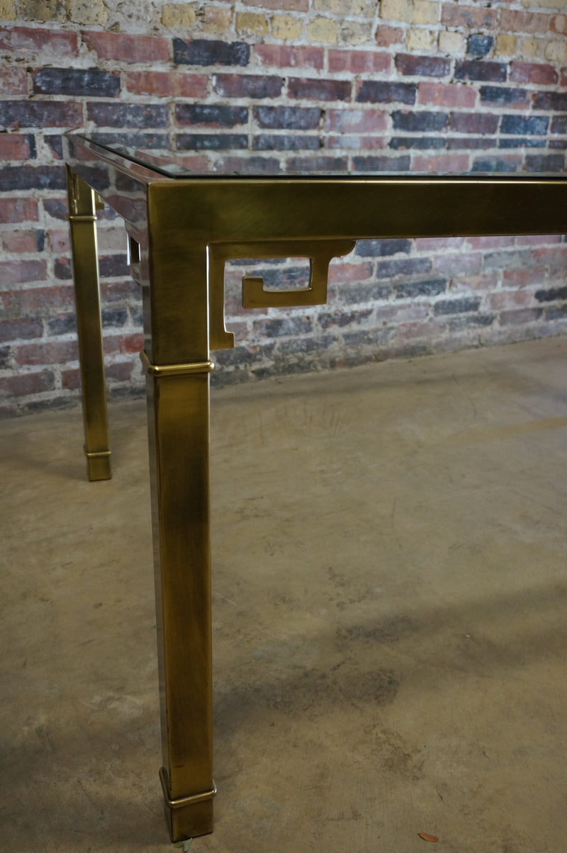 Mid Century Brass and Glass Dining Table