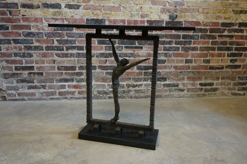 Black Granite and Iron Console Table