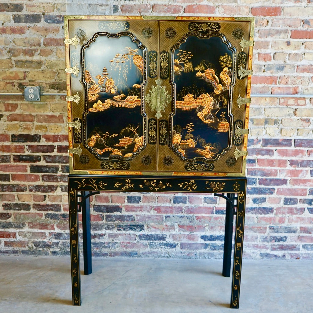Baker Bar Cabinet Asian Motif Chicago