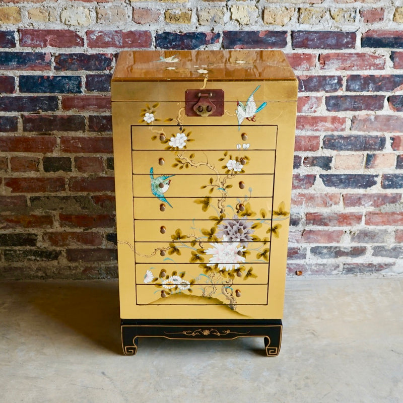 Tall Asian Jewelry Chest gold leaf and hand painted