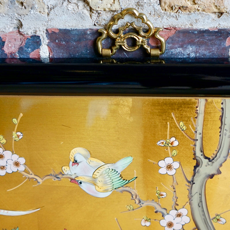 Asian Lacquer and Gold Leaf Painting on Wood