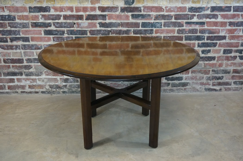 Round Mid Century Walnut Game Table